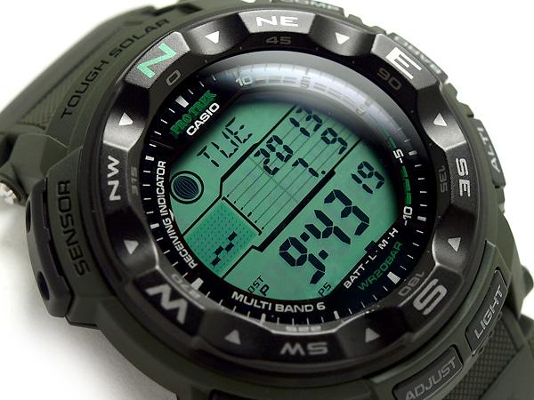 + Casio overseas model protrek triple sensor with solar radio digital watch Army Green Camo pattern cross belt PRW-2500B-3DR