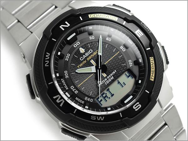 Imports overseas model SPORTS GEAR sports gear twin sensor powered mens Digital Watch Black Silver stainless steel belt SGW-500HD-1BVDR