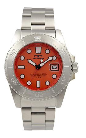 【テクノス】【TECHNOS】【訳あり:A】【アウトレット】【正規品】【腕時計】TECHNOS/テクノス T2674SH オールステンレス 回転ベゼル 15気圧防水 腕時計 メンズ オレンジ