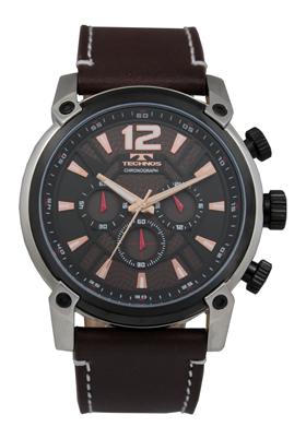 ブラウン 【訳あり:A】【アウトレット時計】【正規品】【テクノス】【腕時計】TECHNOS/テクノス クロノグラフ T6434SA 牛革バンド 腕時計 5気圧防水 メンズ
