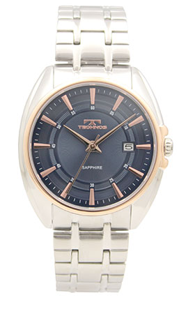 【テクノス】【TECHNOS】【送料無料】【訳あり:A】【アウトレット】【正規品】【腕時計】TECHNOS/テクノス T6619PN オールステンレス サファイアガラス 三針 腕時計 メンズ ブルー×ピンクゴールド