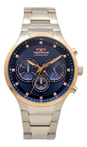 【テクノス】【TECHNOS】【送料無料】【訳あり:A】【アウトレット】【正規品】【腕時計】TECHNOS/テクノス T6672PN オールステンレス クロノグラフ 腕時計 メンズ ブルー×ピンクゴールド