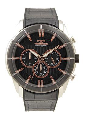 テクノス腕時計 大きめフェイスのクロノグラフ テクノス TECHNOS 送料無料 訳あり:A 出荷 アウトレット 正規品 クロノグラフ 牛革 メンズ T6673BB ブラック 激安☆超特価 シリコンベルト 腕時計