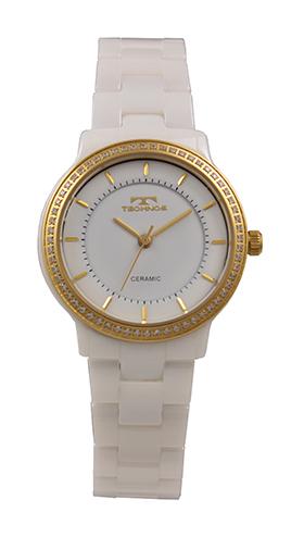 【テクノス】【TECHNOS】【訳あり:A】【アウトレット】【正規品】【腕時計】TECHNOS/テクノス T6899WG セラミックケース&ベルト 腕時計 レディース ホワイト×ゴールド