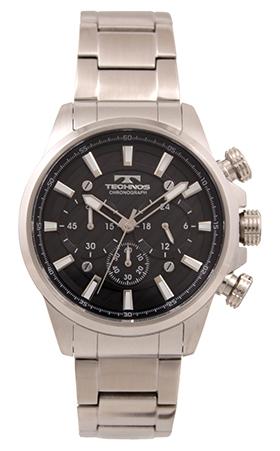 【テクノス】【TECHNOS】【送料無料】【訳あり:A】【アウトレット】【正規品】【腕時計】TECHNOS/テクノス T6A17SB オールステンレス クロノグラフ 腕時計 メンズ ブラック:ウォッチOUTLET店