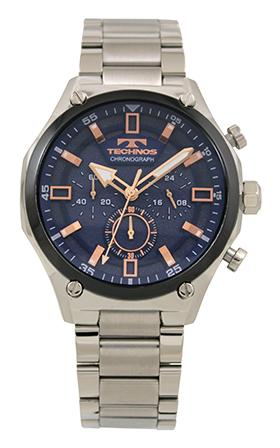 テクノス腕時計 オールステンレスのクロノグラフ テクノス TECHNOS 送料無料 訳あり:A アウトレット 激安特価品 T6A43SN 正規品 オールステンレス ブルー メンズ 激安通販 腕時計 クロノグラフ