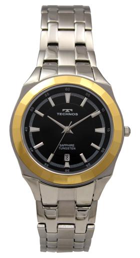 【訳あり:A】【アウトレット時計】【正規品】【テクノス】【腕時計】TECHNOS/テクノス T9523GB タングステンベゼル サファイアガラス 腕時計メンズ ブラック×ゴールド