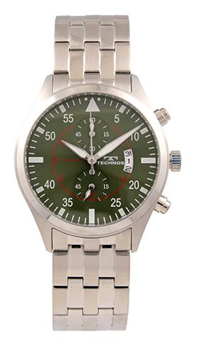テクノス腕時計 オールステンレスのクロノグラフ テクノス TECHNOS 送料無料 訳あり:A アウトレット 正規品 メンズ オールステンレス 男女兼用 クロノグラフ グリーン T9696SM 腕時計 安値