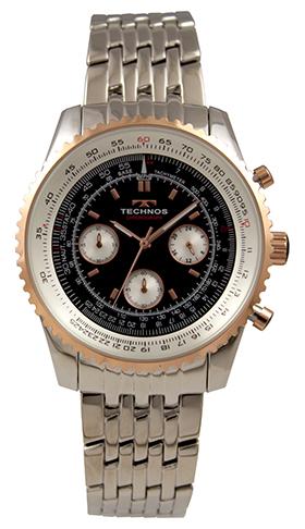 テクノス腕時計 日本未発売 オールステンレスのクロノグラフ 流行 テクノス TECHNOS 送料無料 訳あり:A アウトレット 正規品 クロノグラフ ブラック×ピンクゴールド T9A05SH 腕時計 オールステンレス メンズ
