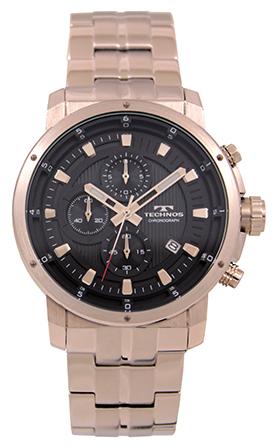テクノス腕時計 オールステンレスのクロノグラフ テクノス TECHNOS 送料無料 商い 訳あり:A アウトレット クロノグラフ T0A53SB 腕時計 メンズ ブラック 正規品 オールステンレス お金を節約