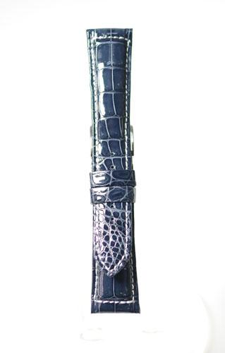 MGW079dw5【クロコ(光沢あり白糸ラグステッチ)- 超厚手・】 - 色:濃紺 / ベルト幅:20.21.22mm / 厚さ:約 5-3mm