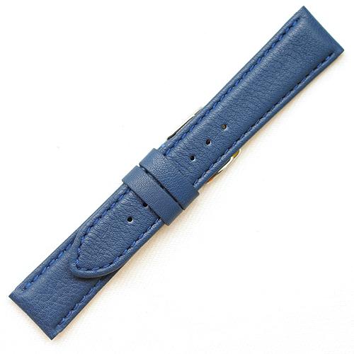 【松重オリジナル 皮革時計ベルト】 YC016D【牛革(ツヤ無し)】 - 色:ブルー /サイズ:18-16mm,20-18mm