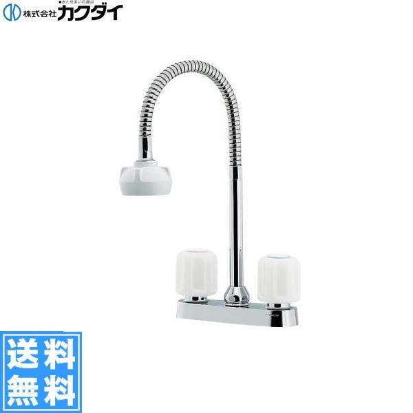 カクダイ[KAKUDAI]キッチン用2ハンドル混合栓(シャワー付き)151-007[一般地仕様]【送料無料】