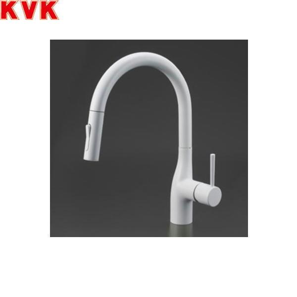 [KM6061ECM4]KVK流し台用シングルレバー式シャワー付混合水栓[一般地仕様][マットホワイト]【送料無料】