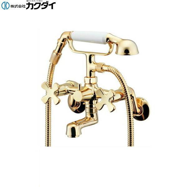 [133-505-G]カクダイ[KAKUDAI]2ハンドルシャワー混合栓[ゴールド]【送料無料】