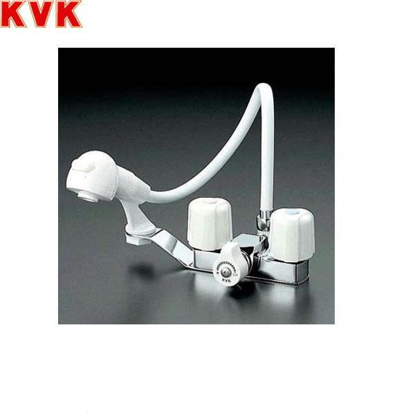 [KF12F2-1ZE-GS]KVK洗面用2ハンドル洗髪シャワー混合水栓[寒冷地仕様][一時止水付][ゴム栓付]【送料無料】