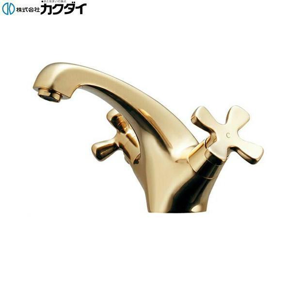 [150-436-CG]カクダイ[KAKUDAI]2ハンドル混合栓[クリアブラス]【送料無料】