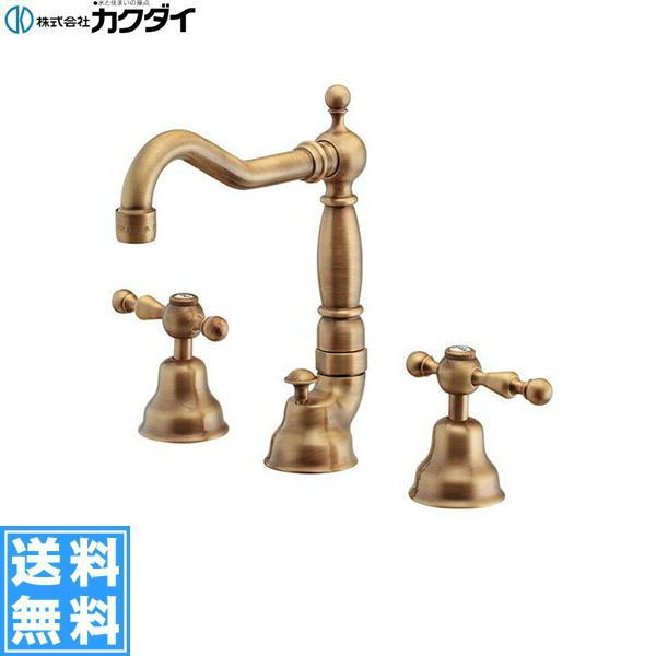 [153-026-AB]カクダイ[KAKUDAI]2ハンドル混合栓[オールドブラス]【送料無料】