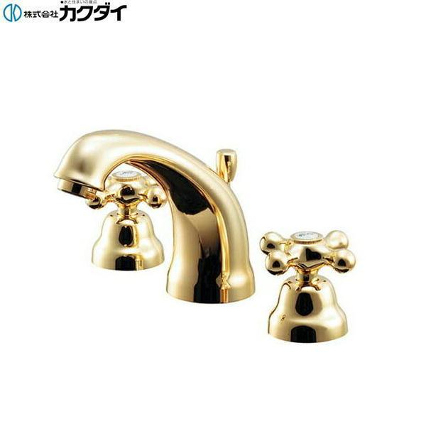 [153-029-G]カクダイ[KAKUDAI]2ハンドル混合栓[ゴールド]【送料無料】