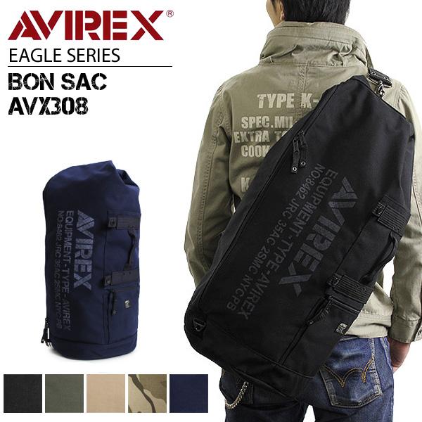 【ボンサック】【送料無料】AVIREX EAGLE AVX308 通学 アウトドア 旅行 ボンザック ワンショルダーバッグ 斜めがけバッグ ポリエステルキャンバス ミリタリー かばん 鞄 メンズ 人気 ブランド アヴィレックス プレゼントに