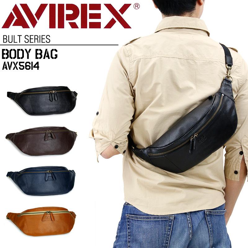 ボディバッグ AVIREX レザー 新作 メンズ 男女兼用 ユニセックス ワンショルダーバッグ アヴィレックス AVX5614 ブルト EAGLE アビレックス 牛革 レザー 本革 ウエストバッグ