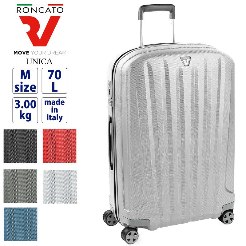 RONCATO ロンカート UNICA ユニカ 70L 3~5泊 スーツケース キャリーケース キャリーバッグ ジッパー式 4輪 海外旅行 国内旅行 旅行 出張 ビジネス TSAロック ポリカーボネート トラベル 旅行用かばん トラベルバッグ 超軽量 10年保証 イタリア製 5612