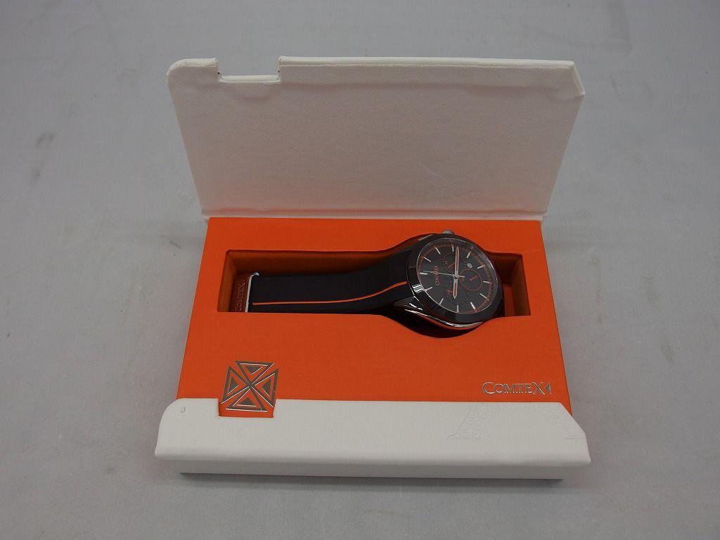 【未使用】  COMTEX クロノグラフ 腕時計 ブラック×オレンジ