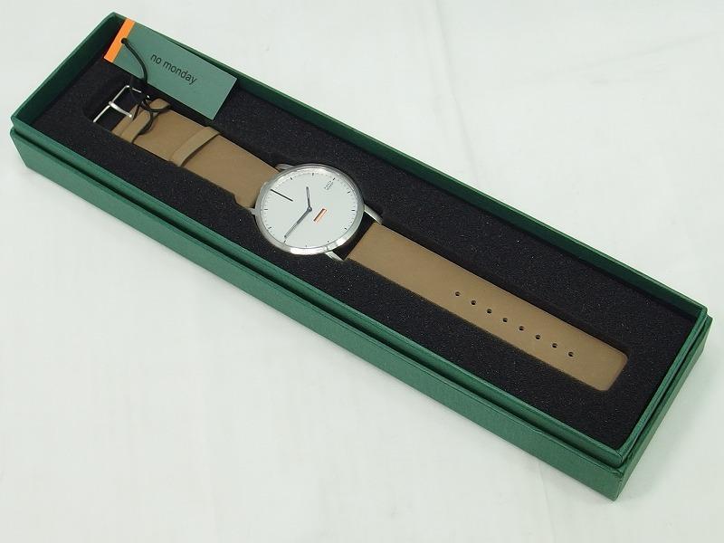 ノーマンデー no monday Collections 460 アナログ腕時計 秒針なし ライトベージュ NM-460B2 【中古】