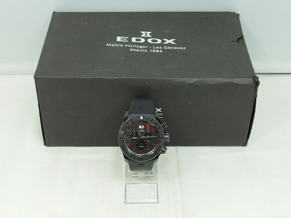エドックス EDOX クロノオフショア1 ビックデイト ブラック ブラック 10020-37N-NRO 【中古】