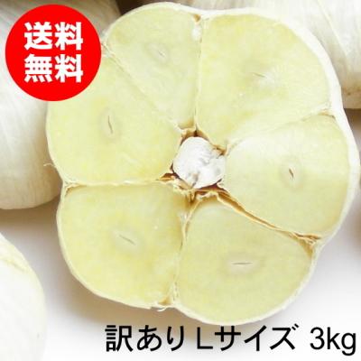 青森にんにく 訳ありLサイズ 3kg 福地ホワイト六片種 令和元年【送料無料】