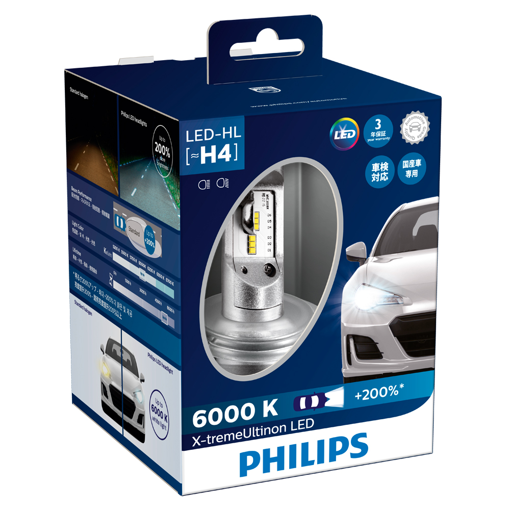 (国産車専用)H4 LED ヘッドランプ エクストリームアルティノン 6000K PHILIPS(フィリップス)