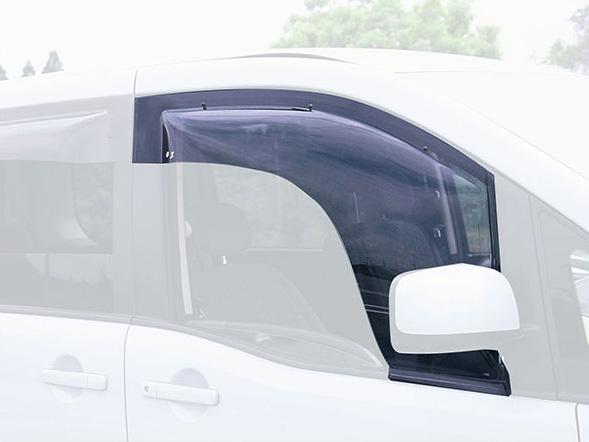 サイドバイザー ベイシックモデル ハイエース・レジアスエース(200系前期)電動格納メッキワイドビュードアミラー車専用 フロント用 オックスバイザー