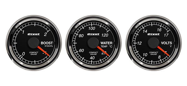 コンパクトゲージ 52 3連メーター ブースト計/水温計/電圧計 CB3 ピボット(Pivot)