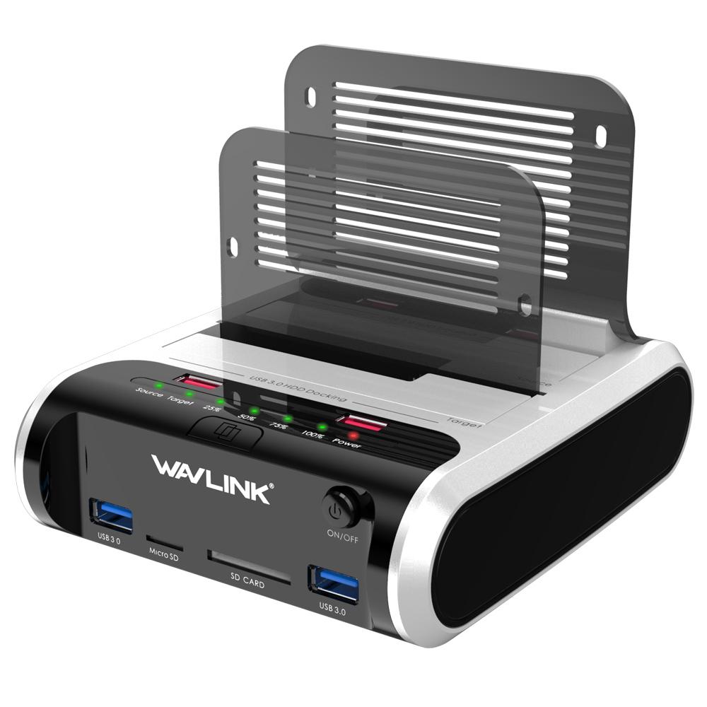 WAVLINK 安心の定価販売 HDDスタンド 充電ポート付き USB3.0 2.5型 3.5型 SATA 店内全品対象 SSD対応 SDポート付き Micro オフラインクローン 10TB対応 パソコンなしでHDDのまるごとコピー機能付きSD HDD