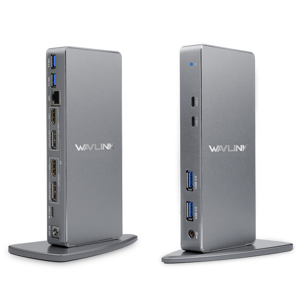 【送料無料】【国内配送】WAVLINK USB 3.0/USB CウルトラHD / 5Kユニバーサルドッキングステーション、2xディスプレイポート、2xHDMI、ギガビットイーサネット、4 USB 3.0ポート、2タイプC-PD機能をサポートしないデュアル4Kビデオディスプレイ