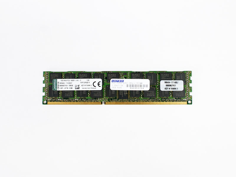 KVR13LR9Q8/16 Kingston 16GB DDR3L-1333 PC3L-10600 1.35/1.5V ECC Registered 240pin RDIMM【中古】