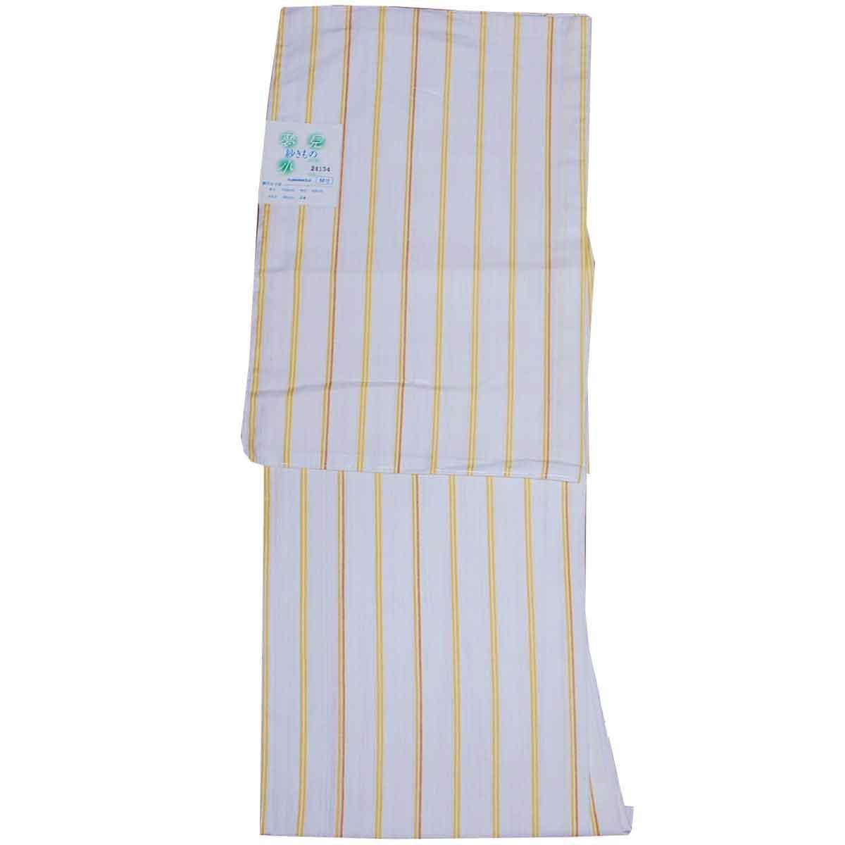 付与 お手入れ簡単 到着後すぐ着れます 洗える着物 夏物 紗 白 小紋 Mサイズ 縞 仕立て上がり 驚きの価格が実現