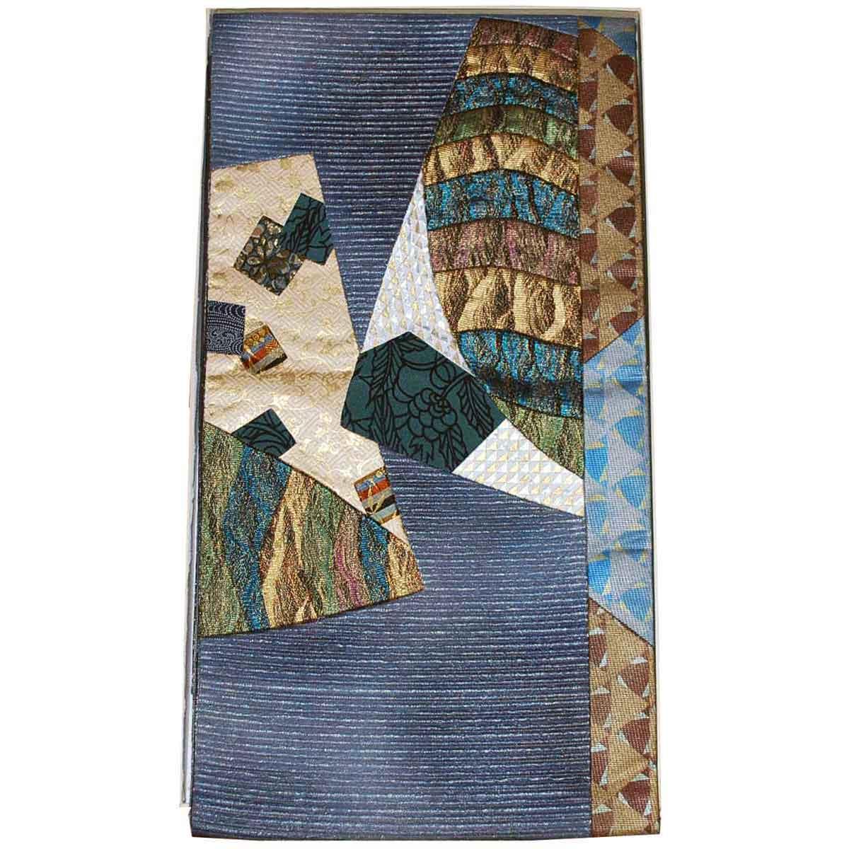 袋帯 切り嵌め きりばめ 正絹 高い素材 グレー系 <セール&特集>