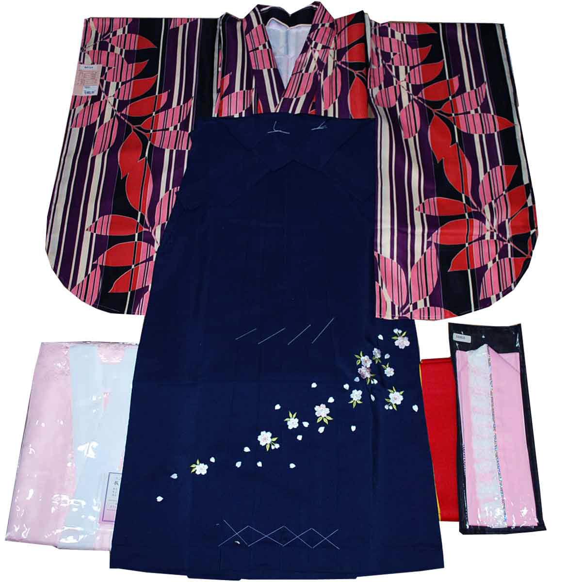 卒業式 着物 袴 5点 セット 二尺袖 長襦袢 袴 重ね衿 袴下帯 縦縞 花柄 黒×紺