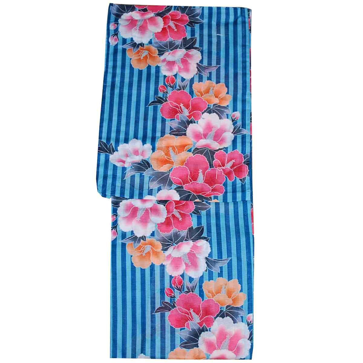 到着後すぐ着れます 女性用 浴衣 低廉 フリーサイズ ショップ 綿絽 ゆかた レディース 花柄 水色 紺