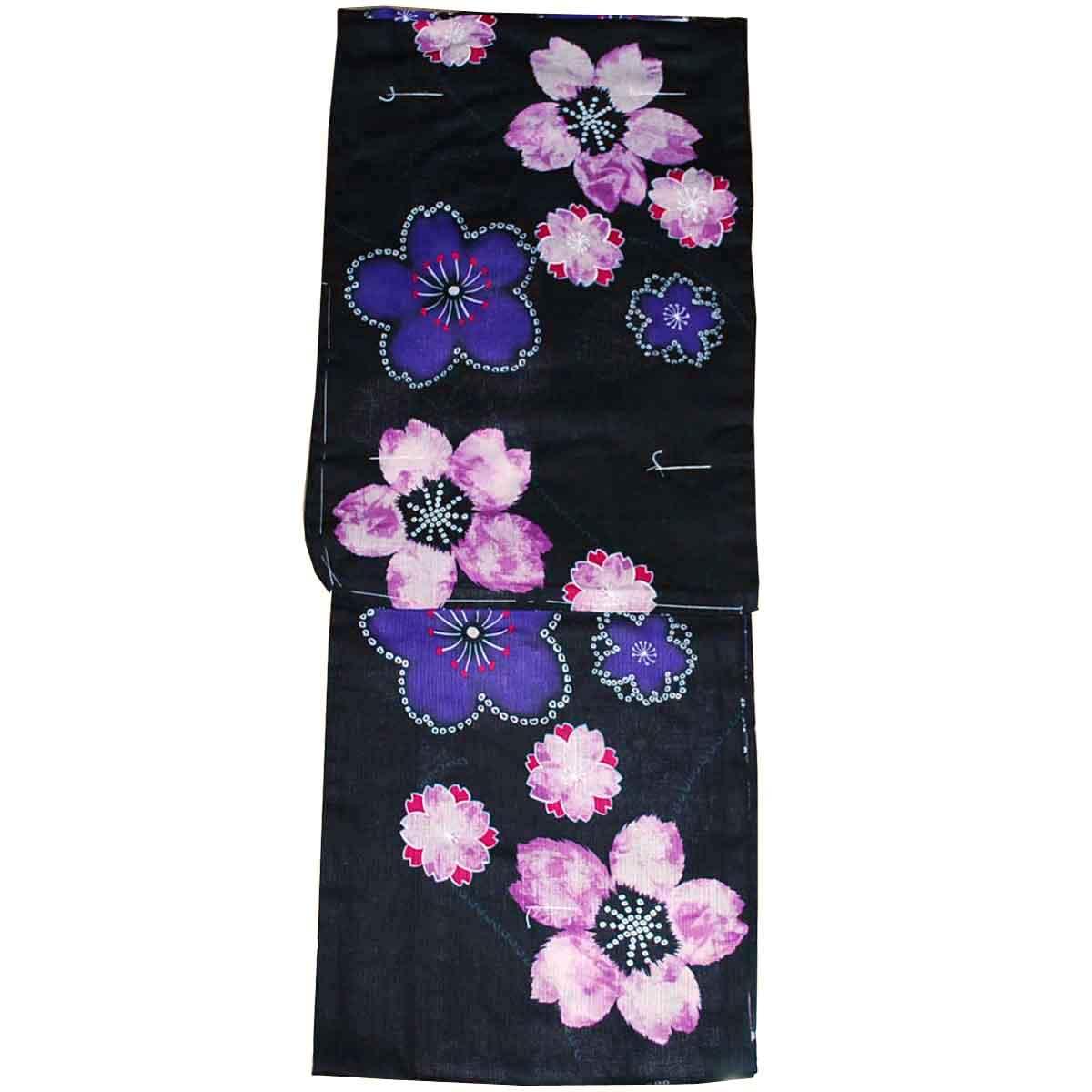 到着後すぐ着れます 女性用 浴衣 フリーサイズ 綿麻 桜 レディース ゆかた 驚きの値段で お買得 黒