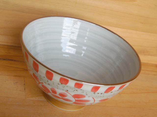 帯タコからくさ茶碗 赤