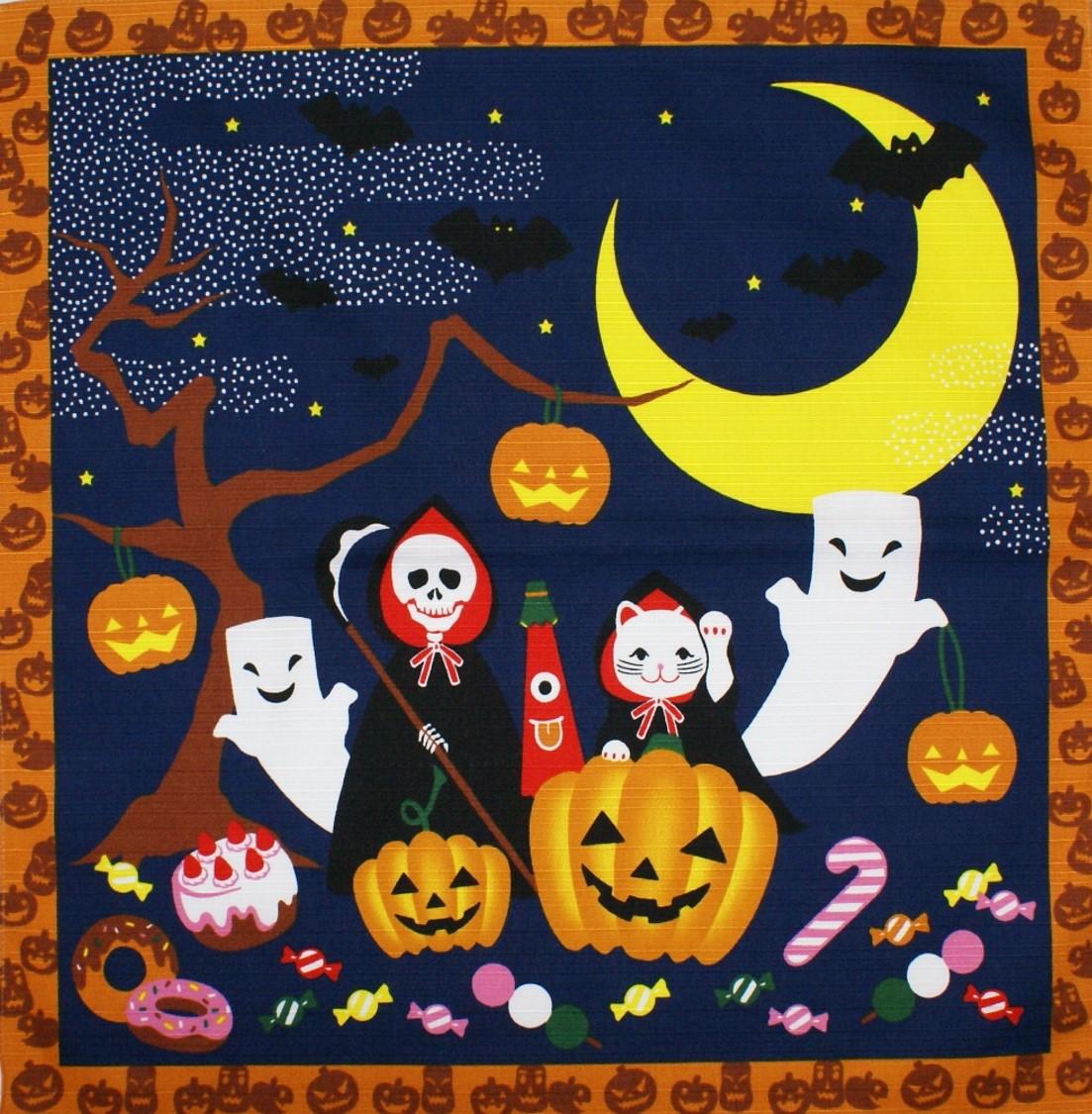 wazakka yufuka: popular! halloween cotton-small furoshiki (50 cm