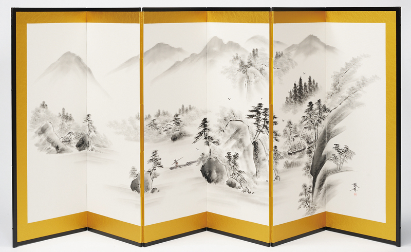 国産 日本製 肉筆作品 美術屏風 新紗 山水(6曲)屏風(びょうぶ) 衝立(ついたて) 間仕切り(パーテーション) 和家具 送料無料 代引き手数料無料