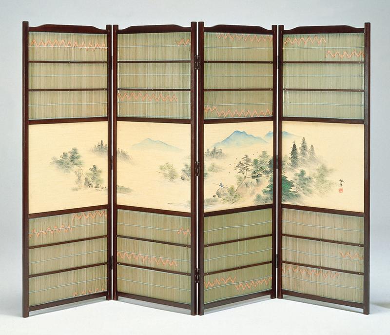 日本製 簾屏風 古代色 竹皮 「山水」廃版確定品の為、在庫確認必要 全国送料無料無料 代引き手数料無料