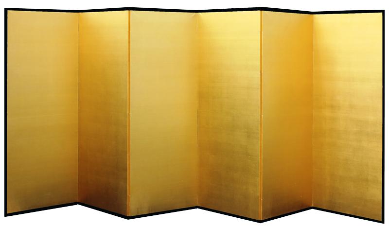 日本製 本金屏風(純金箔 木製格子) 8尺6曲金屏風(きんびょうぶ) 衝立(ついたて) 間仕切り(パーテーション) 和家具全国送料無料無料 代引き手数料無料