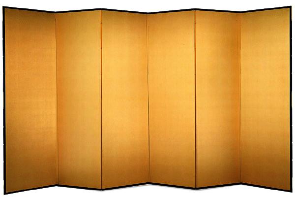 国産 日本製 金屏風(新洋金絹目金箔 木製格子) 6尺6曲金屏風(きんびょうぶ) 衝立(ついたて) 間仕切り(パーテーション) 和家具送料無料 代引き手数料無料