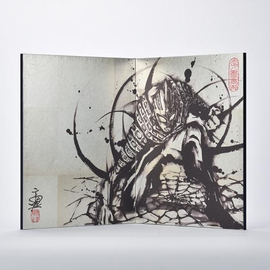 国産 日本製 屏風 錫箔二曲屏風 武人画 ウルトラセブン 墨絵 銀屏風 全国送料・代引き手数料無
