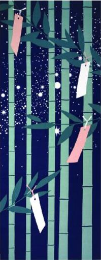 季節を楽しむ「四季彩布」プリントてぬぐい♪ 手ぬぐい 手拭い メール便対応 四季彩布 7月 七夕 日本製(MADE IN JAPAN)夏 たなばた 笹の葉飾り 天の川 日本手拭い