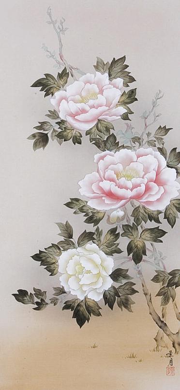掛け軸 掛軸(かけじく) 牡丹(佐藤 景月) 花鳥画 春用掛軸 年中掛け用 日本画 全国無料 代引き手数料無料